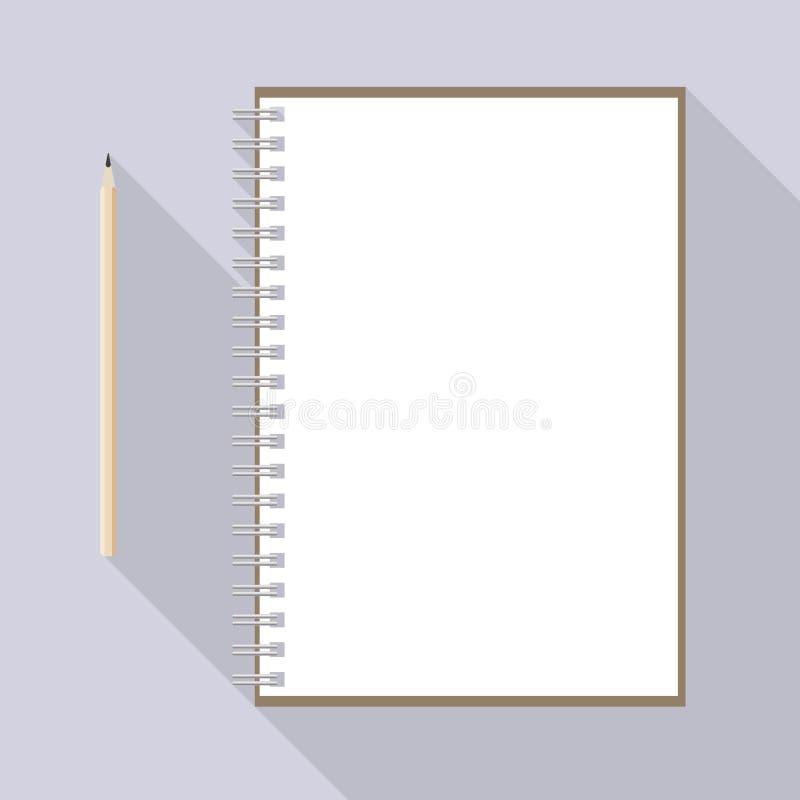 Leworęczny ołówka i pustego miejsca Kraft papieru notatnik royalty ilustracja