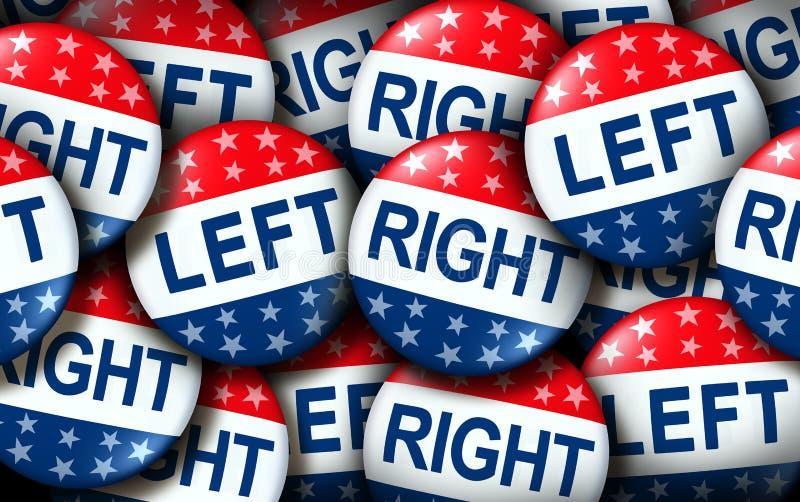 Lewy I Prawy głosowanie odznaki ilustracji