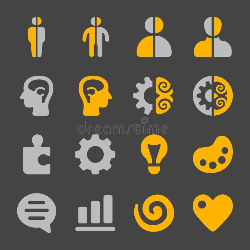 Lewy i prawy móżdżkowy ikona set royalty ilustracja