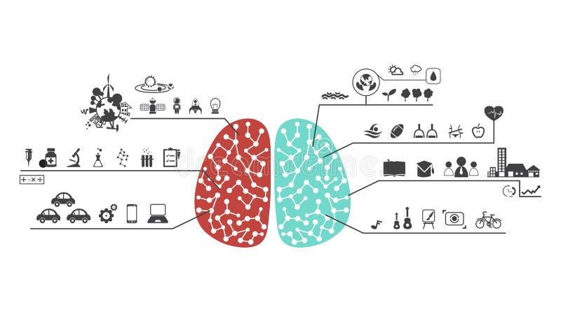 Lewy i prawy mózg funkcjonuje ikona ilustracji