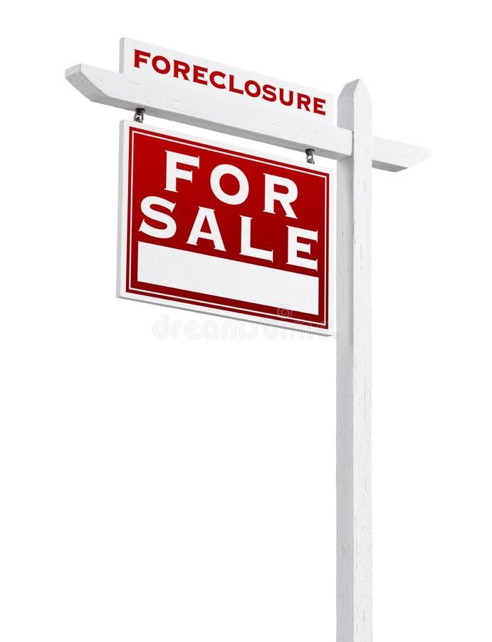 Lewy Okładzinowy Foreclosure Sprzedający Dla sprzedaży Real Estate znaka Odizolowywającego zdjęcie stock