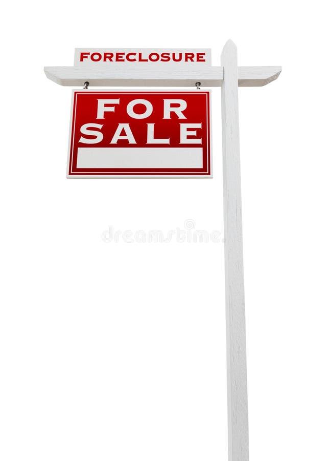 Lewy Okładzinowy Foreclosure Sprzedający Dla sprzedaży Real Estate znaka Odizolowywającego fotografia stock
