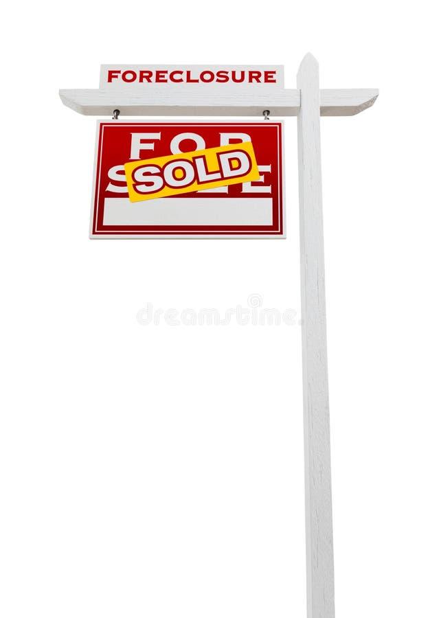 Lewy Okładzinowy Foreclosure Sprzedający Dla sprzedaży Real Estate znaka Odizolowywającego zdjęcie royalty free