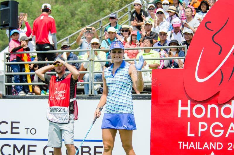 Lexi Thompson del campeón de los E.E.U.U. de Honda LPGA Tailandia 2016 imagenes de archivo