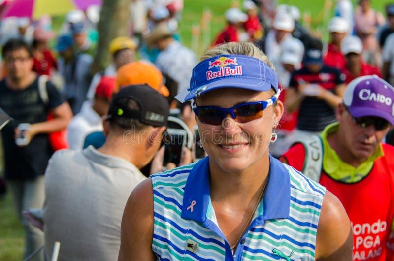 Lexi Thompson del campeón de los E.E.U.U. de Honda LPGA Tailandia 2016 foto de archivo