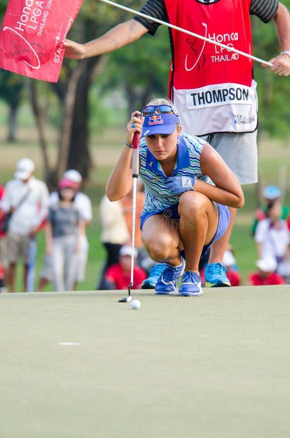 Lexi Thompson del campeón de los E.E.U.U. de Honda LPGA Tailandia 2016 fotos de archivo libres de regalías