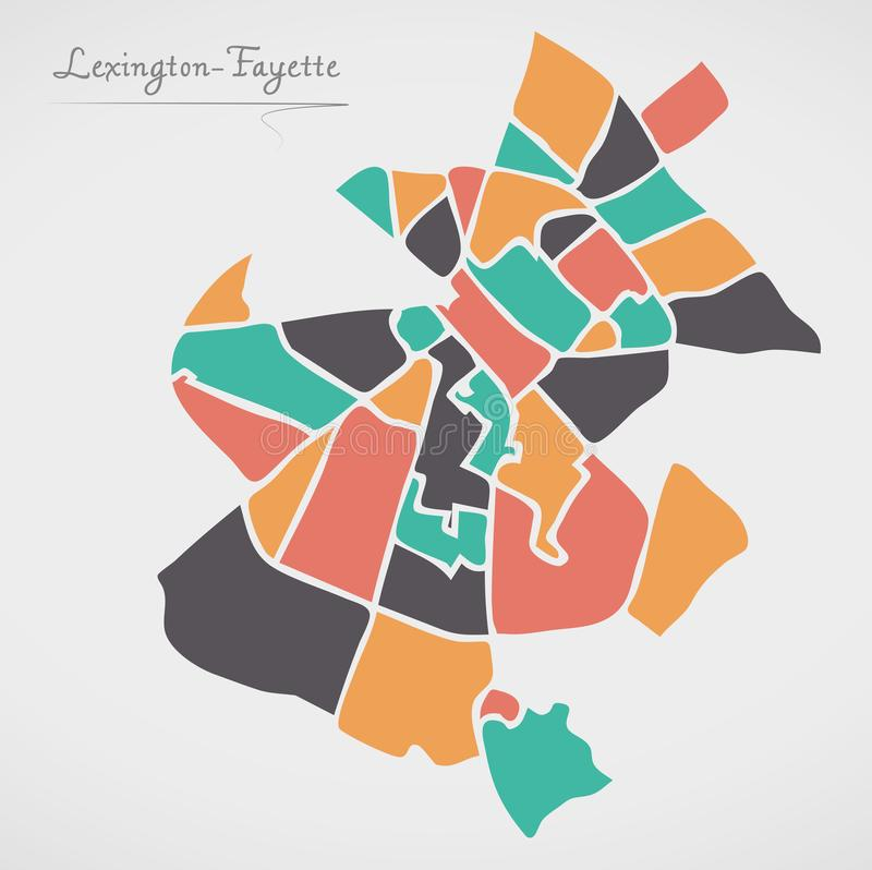 Lexington-Fayette Kentucky Map with neighborhoods and modern round shapes. Illustration royalty free illustration