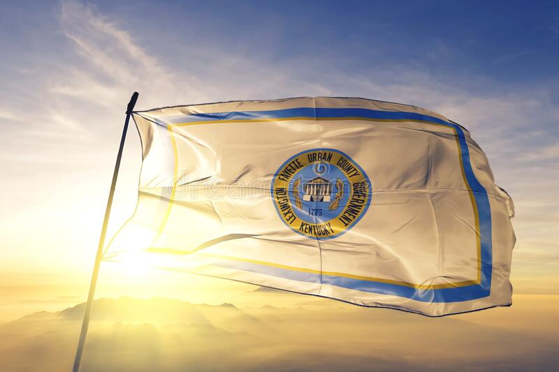 Lexington of Kentucky of United States flag waving on the top. Lexington of Kentucky of United States flag waving royalty free stock photography