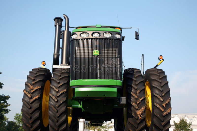 LEXINGTON, KY-CIRCA JANUARY, 2015: John Deere tractor on display. Large agribusinesses increasingly turn to large equipment like stock photos