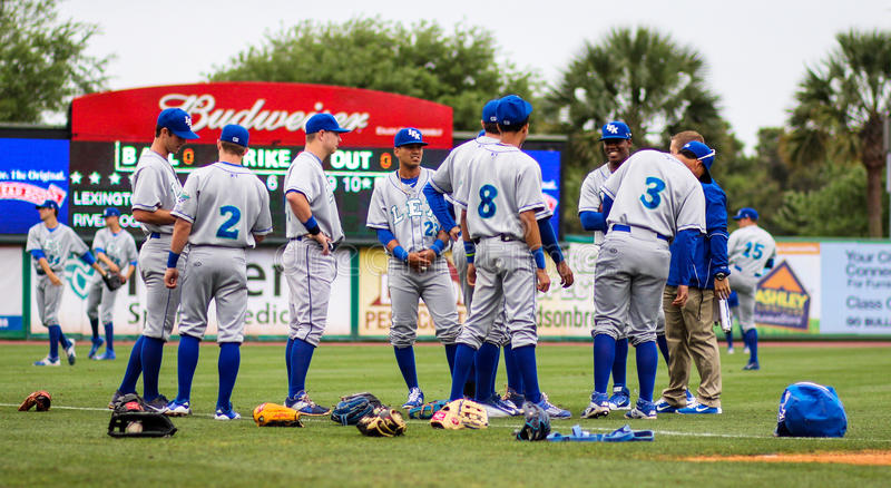 Lexington Legends stretch. The Lexington Legends warm up before a game against the Charleston RiverDogs royalty free stock image