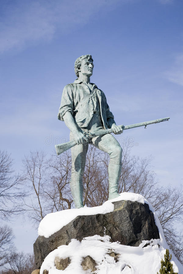 Lexingtonminuteman-Statue stockbilder