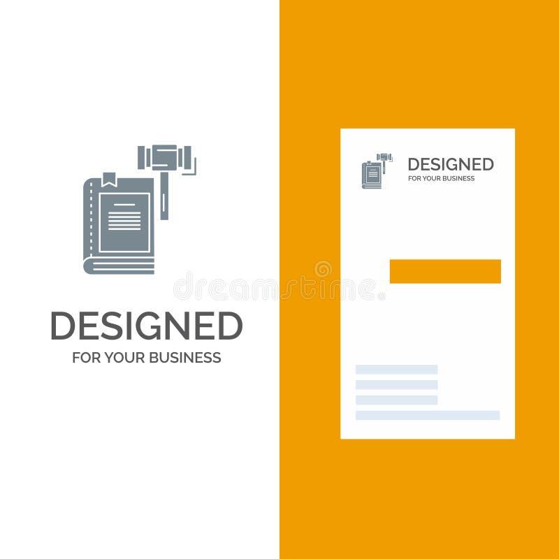 Ley, acción, subasta, corte, mazo, martillo, Grey Logo Design legal y plantilla de la tarjeta de visita ilustración del vector