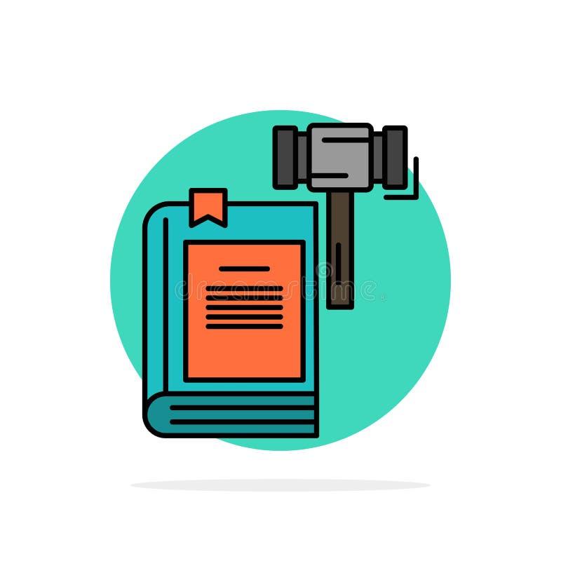 Ley, acción, subasta, corte, mazo, martillo, icono plano del color de fondo abstracto legal del círculo libre illustration