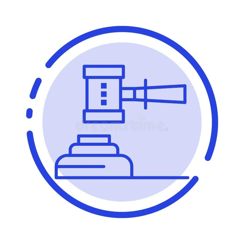 Ley, acción, subasta, corte, mazo, martillo, juez, línea de puntos azul legal línea icono ilustración del vector