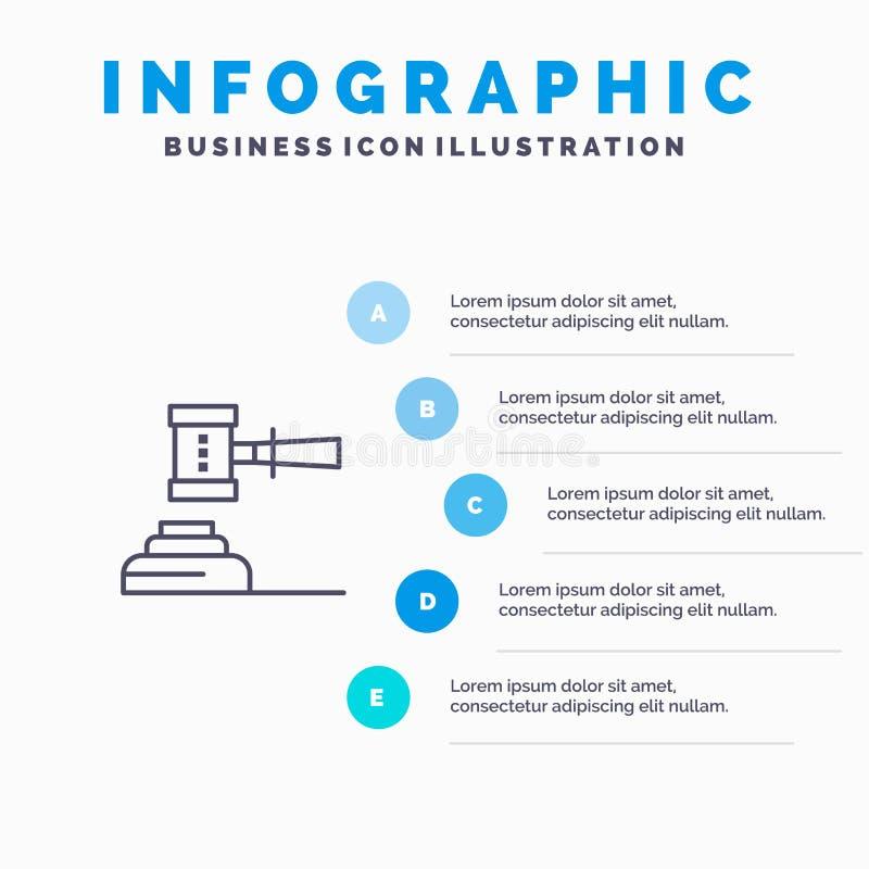 Ley, acción, subasta, corte, mazo, martillo, juez, línea legal icono con el fondo del infographics de la presentación de 5 pasos ilustración del vector