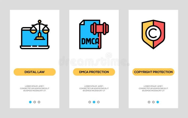 Ley de Digitaces y banderas de Copyright Ley de Digitaces, protección de Dmca, tarjetas de la vertical de la protección de Copyri stock de ilustración