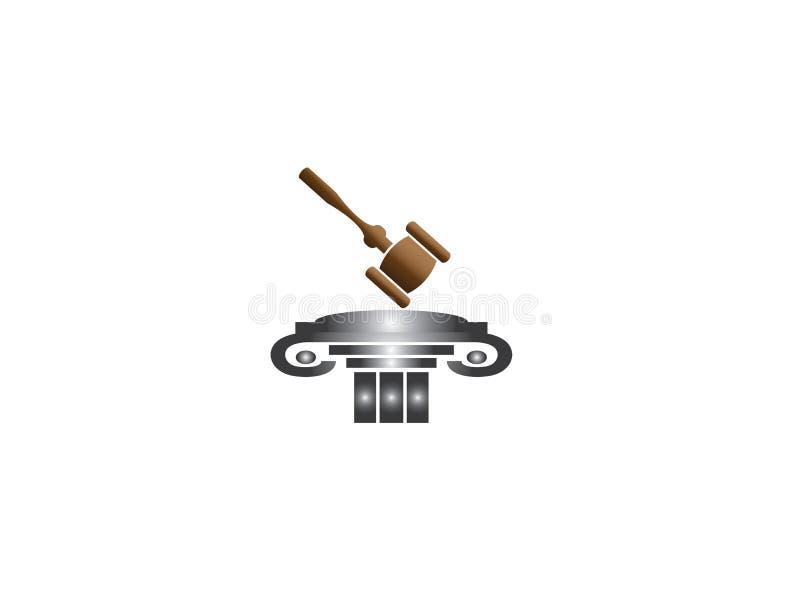 Ley de madera del martillo del mazo y de la subasta del juez sobre un pilar o una columna romano viejo para el diseño del logotip ilustración del vector