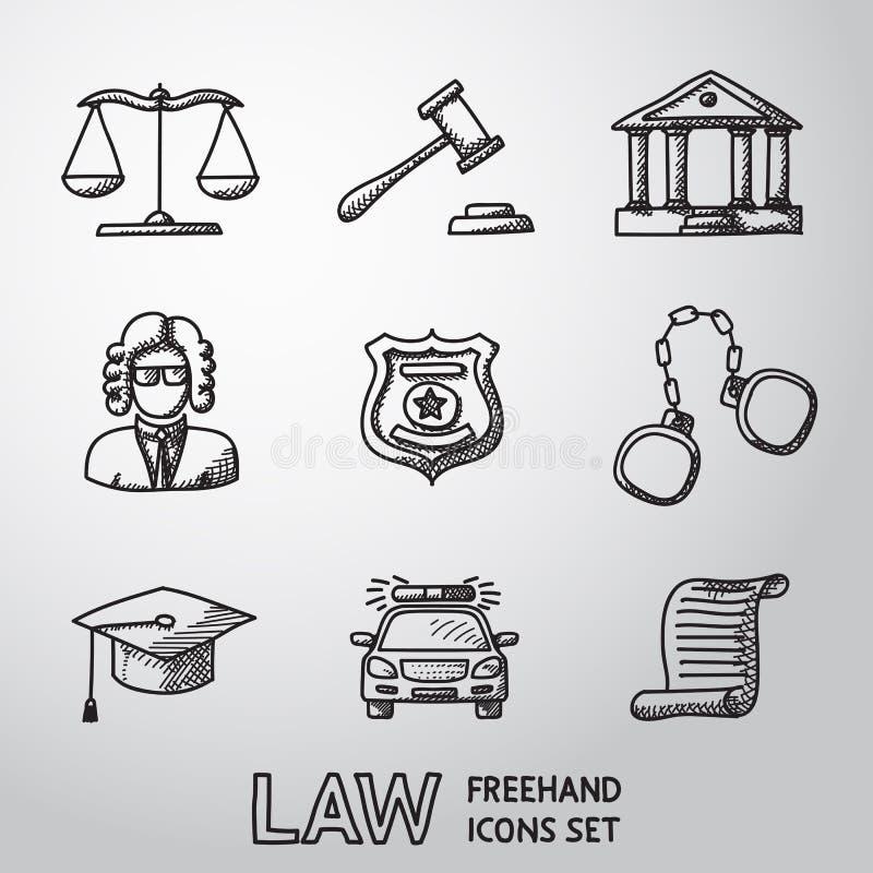 Ley, iconos a pulso de la justicia fijados Vector stock de ilustración