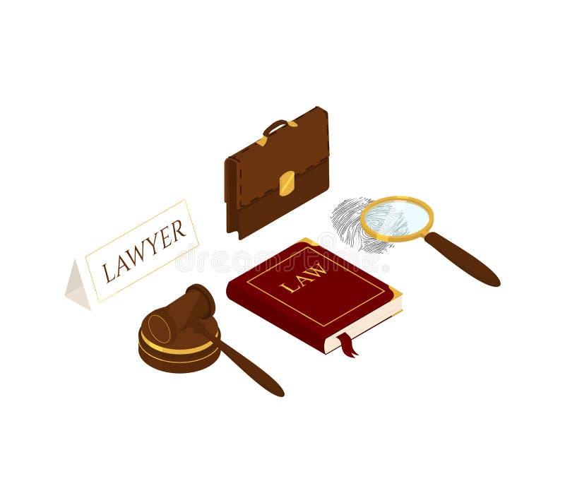 Ley y justicia isom?tricas ilustración del vector