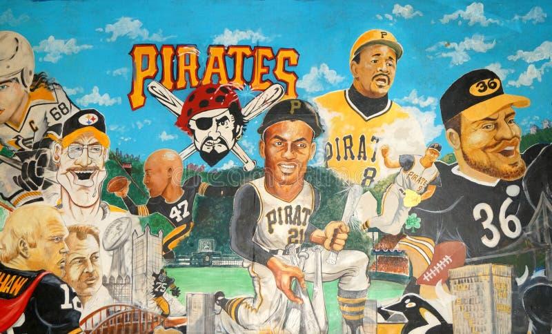 Leyendas de los deportes de Pittsburgh murales imagenes de archivo