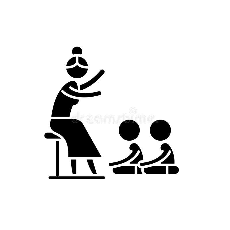 Leyendo en icono del negro de la guardería, muestra del vector en fondo aislado Lectura en símbolo del concepto de la guardería libre illustration