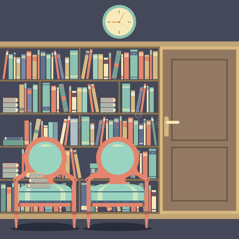 Leyendo Seat en Front Of un estante para libros enorme ilustración del vector