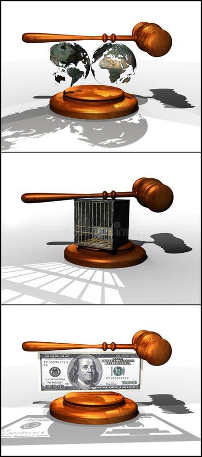 Leyes internacionales, penales y financieras ilustración del vector