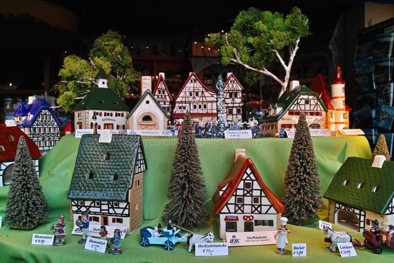 Leyk miniatury wioski nadokienny pokaz obraz royalty free
