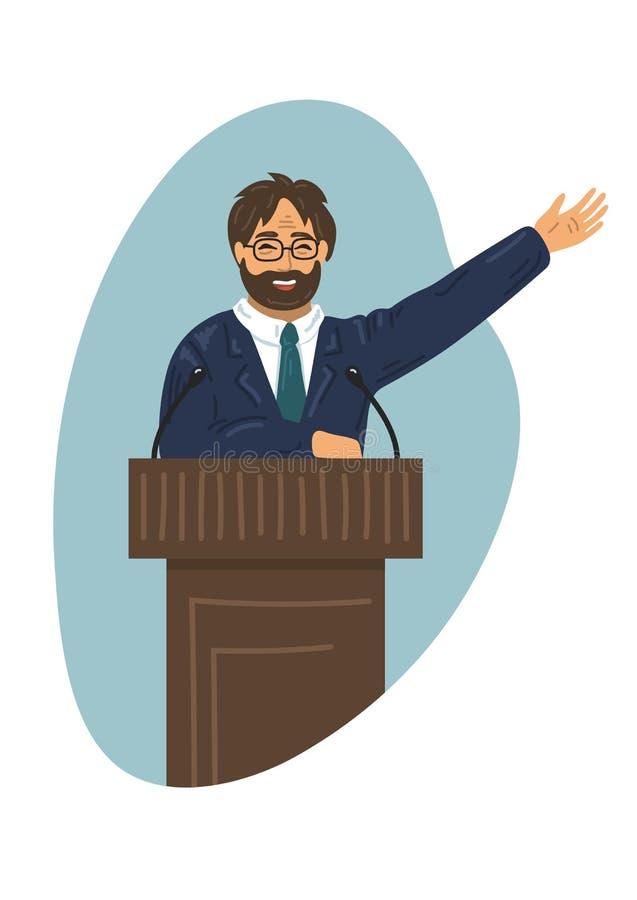 lezing Gebaarde mens in formeel kostuum die bij podiumtribune spreken vector illustratie