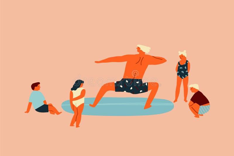 Lezione della spuma con i bambini di insegnamento dell'insegnante che praticano il surfing illustrazione nel vettore Istruzione d royalty illustrazione gratis