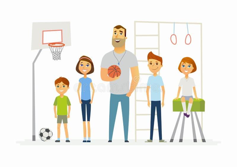 Lezione di educazione fisica alla scuola - illustrazione moderna dei caratteri della gente del fumetto illustrazione vettoriale