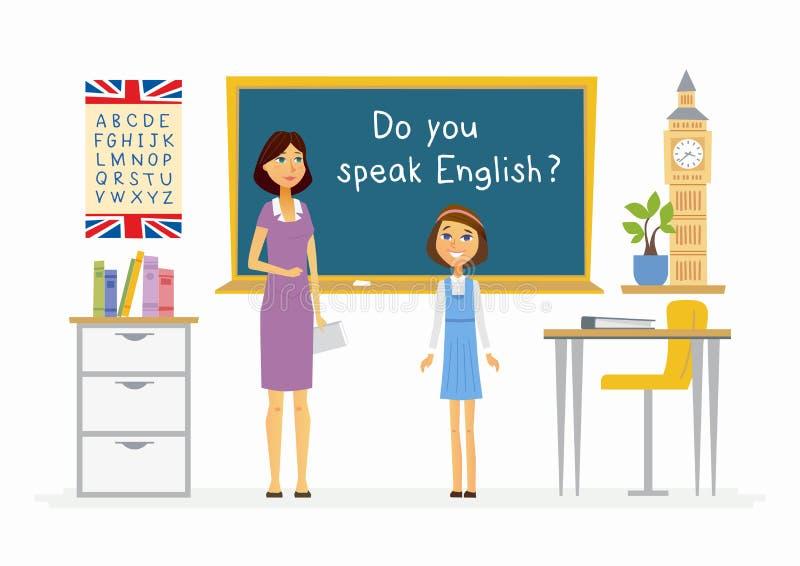 Lezione inglese alla scuola - illustrazione dei caratteri della gente del fumetto royalty illustrazione gratis