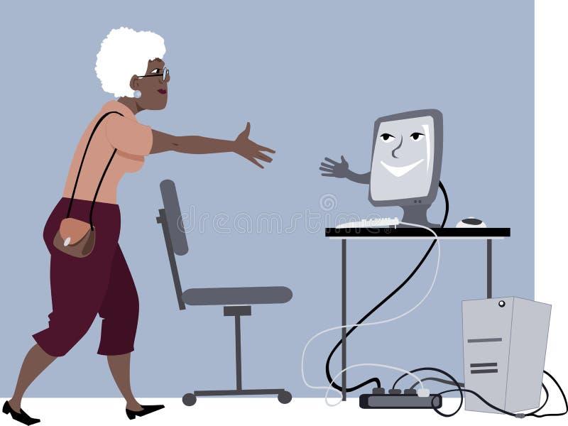Lezioni di computer per gli anziani illustrazione di stock