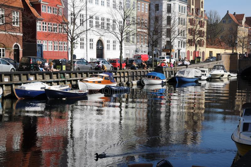 LFE AT CHRISTIANSHAVN CANAL royalty free stock photography