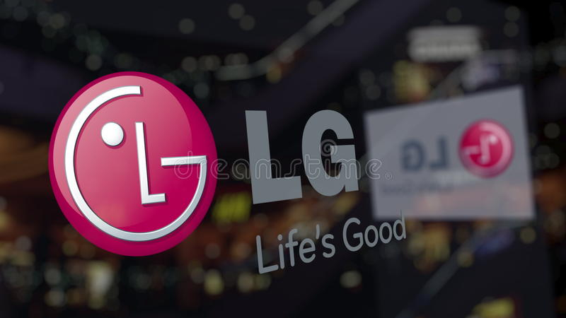 LG-Bedrijfsembleem op het glas tegen vaag commercieel centrum Het redactie 3D teruggeven royalty-vrije illustratie