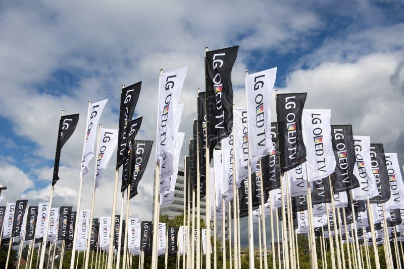 LG Oled TV flags on IFA Berlin stock photos