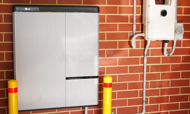 LG lithium ion home battery and Solar Edge inverter solar panel system. royalty free stock photos