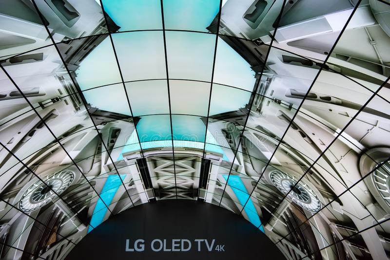 LG Oled TV tunnel stock images