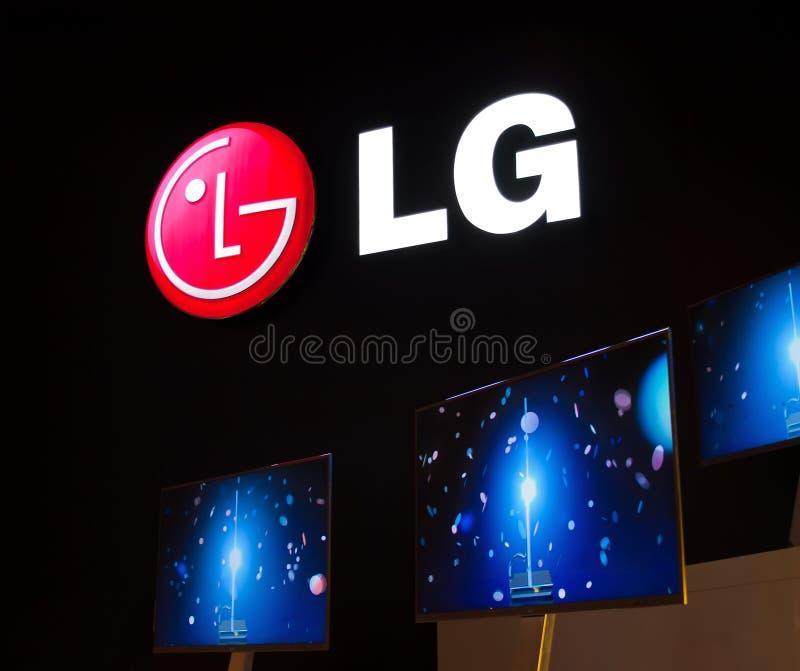 LG Slimline TV at IFA royalty free stock photography