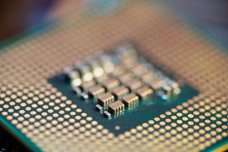 LGA CPU, Narrow Focus. Land Grid Array CPU with narrow focus royalty free stock photo