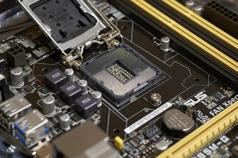 LGA 1150. SARANSK, RUSSIA - DECEMBER 26, 2018: LGA 1150 microprocessor socket on motherboard royalty free stock photography