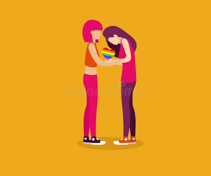 Lgb för hjärtaförälskelselesbisk kvinna royaltyfri illustrationer