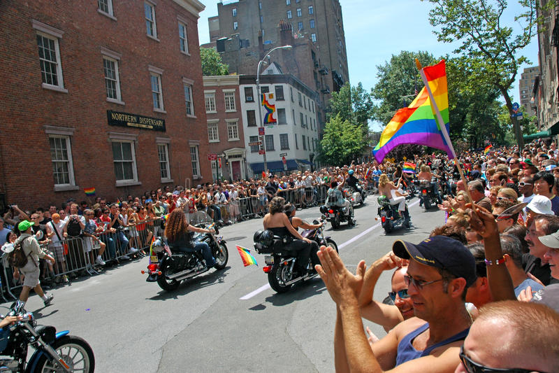 LGBT同性恋自豪日3月在曼哈顿 库存图片