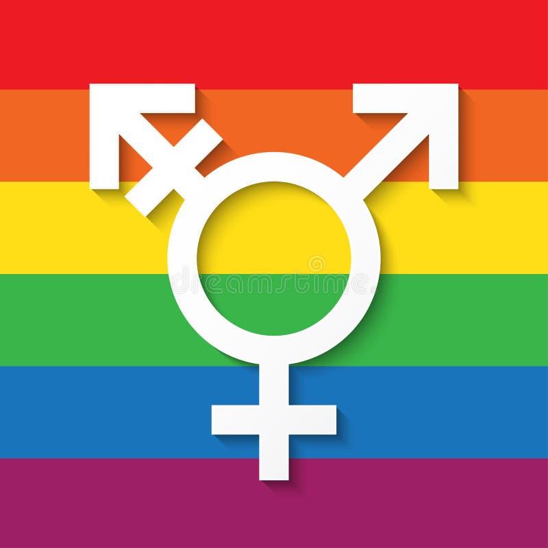 LGBT在彩虹颜色背景的性别标志 皇族释放例证