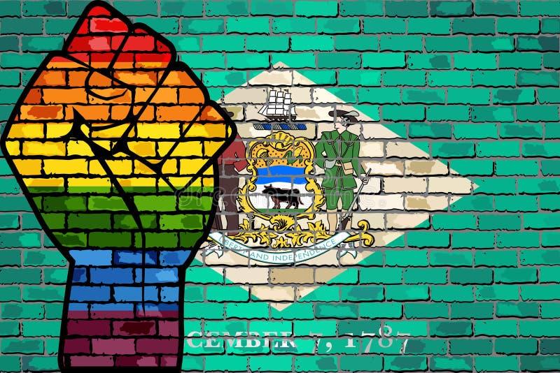 LGBT在特拉华砖墙旗子的抗议拳头 库存例证