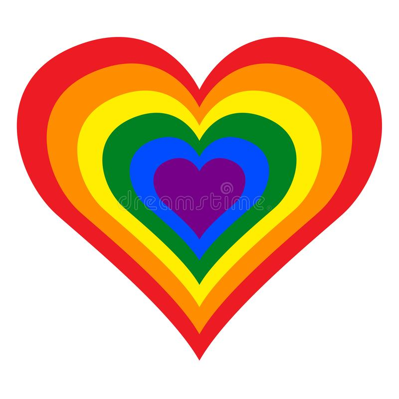 LGBT女同性恋者、同性恋者、两性体和变性自豪感彩虹心脏以传染媒介例证格式 库存例证