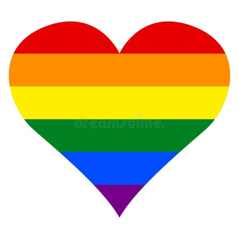 LGBT女同性恋者、同性恋者、两性体和变性自豪感旗子在传染媒介例证的彩虹心脏 库存例证