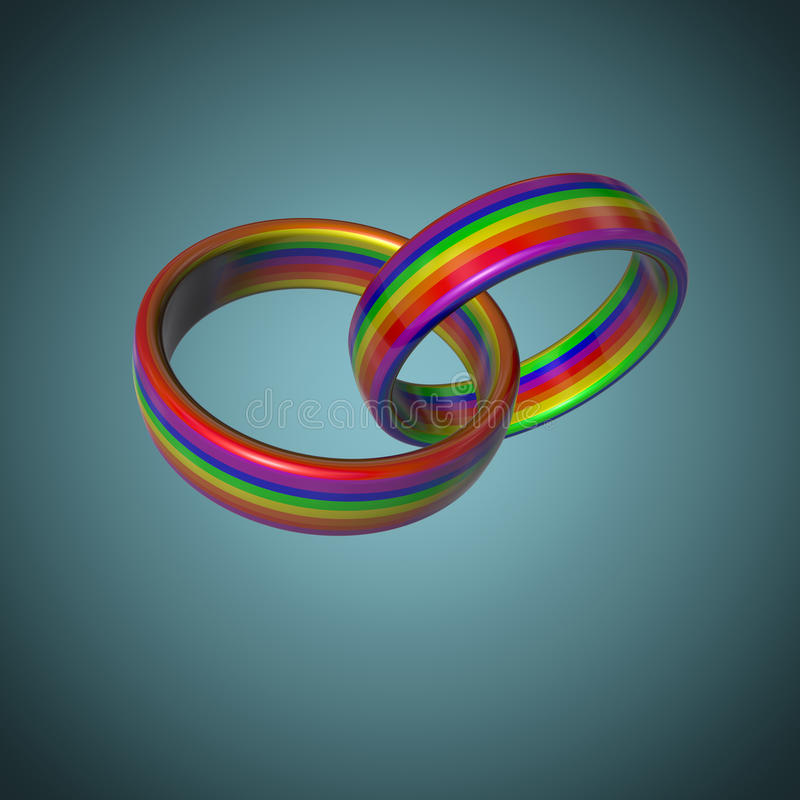 LGBT婚戒 免版税库存图片