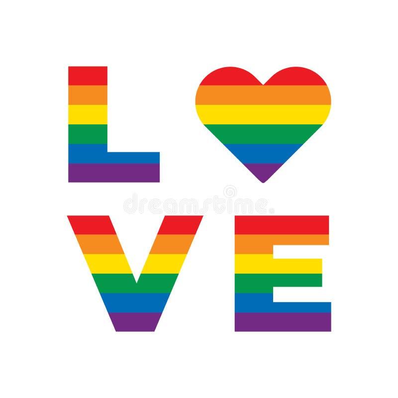 LGBT彩虹平等标志 爱口号 与彩虹lgbt在白色背景隔绝的旗子心脏的爱标志 向量例证