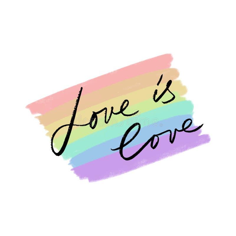 LGBT心脏旗子 彩虹的手拉的颜色 库存例证